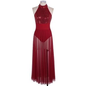 Image 3 - TiaoBug 女性ノースリーブホルターシャイニースパンコールバレエレオタード大人のステージ叙情的なダンス衣装バレエチュチュマキシメッシュダンスドレス