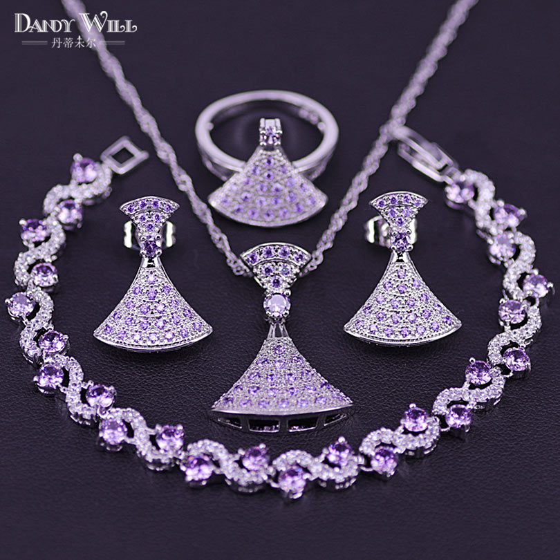 Purple Cubic Zircon Bridal Silver 925 Costume Jewelry Sets Women Pendant&Necklace Ring Earrings Bracelets Jewelery Gift Box