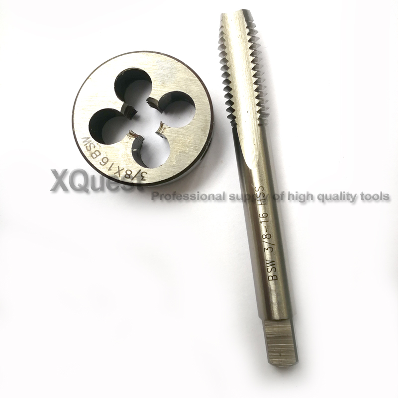 1set Round Die And Hand Tap Withworth Thread Dies Taps Suit BSW 1/8 -40 5/32 3/16 -24 1/4 -20 5/16 -18 3/8 -16 7/16 5/8 3/4 X10