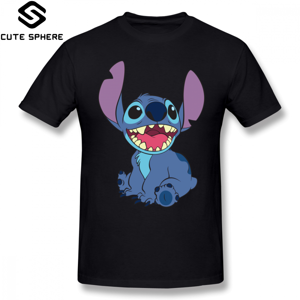 Lilo Stitch   T     Shirt   Stitch   T  -  Shirt   Short Sleeve Cotton Tee   Shirt   Cute Plus size Fashion Print Men Tshirt