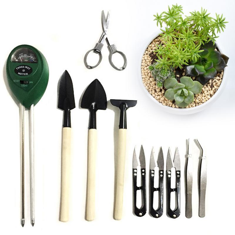 10PCS Succulent Transplanting Miniature Garden Planting Gardening Hand Tools Set Scissors Scorpion Brush Soil Moisture Detector