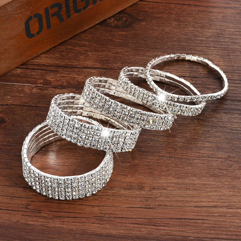 1pc 1/2/3/4/5/6Row Rhinestone Wedding Bridal Shine Women Crystal Silver  Charming Delicate Bracelet Hot  Bangle Jwelry Gift