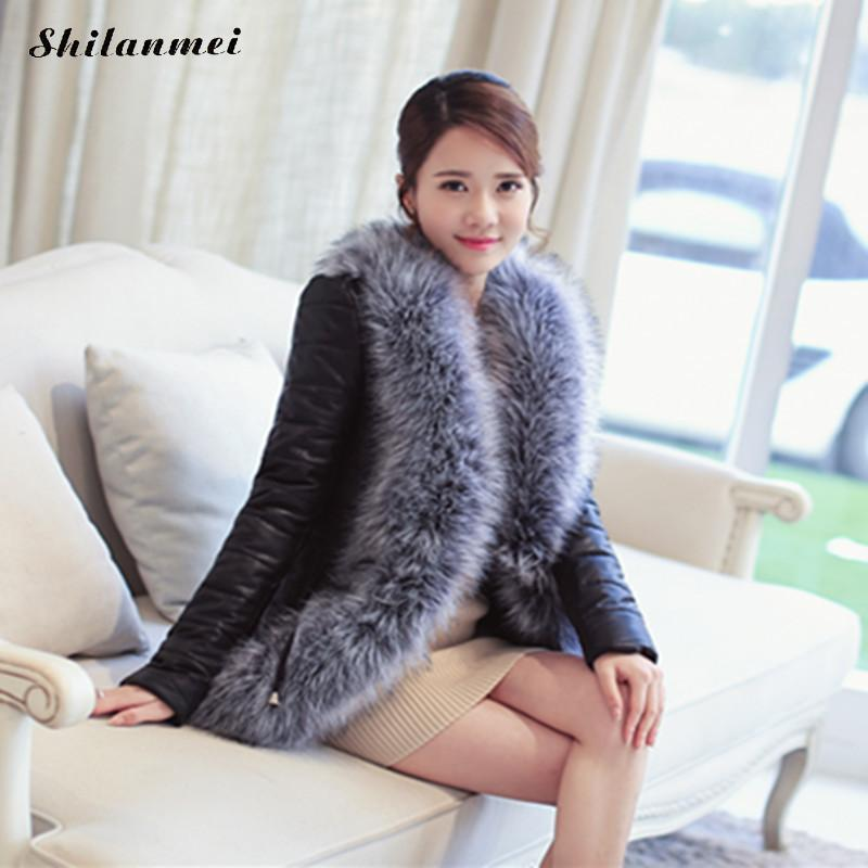 Faux Fur Leather Coat Plus Size Rabbit Fur Collar Coat Jacket for Women Sheepskin 2017 New Women's Winter Warm Fashion Outerwear