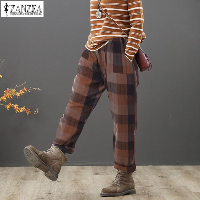 ZANZEA 2019 Vintage Women Checked Pants Female Casual Elastic Wasit Harem Pants Femme Spring Pantalon Palazzo Turnip Trousers