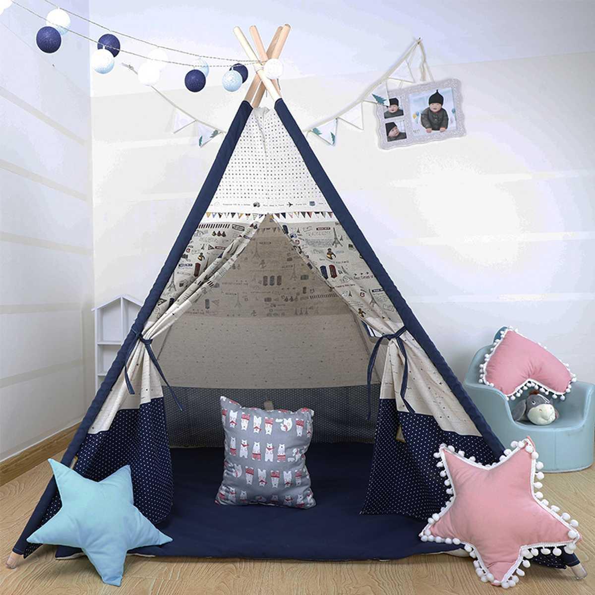 1200x1200x1600mm grande tente de tipi enfants toile maison semblant jouer en plein air intérieur enfant cadeaux de noël