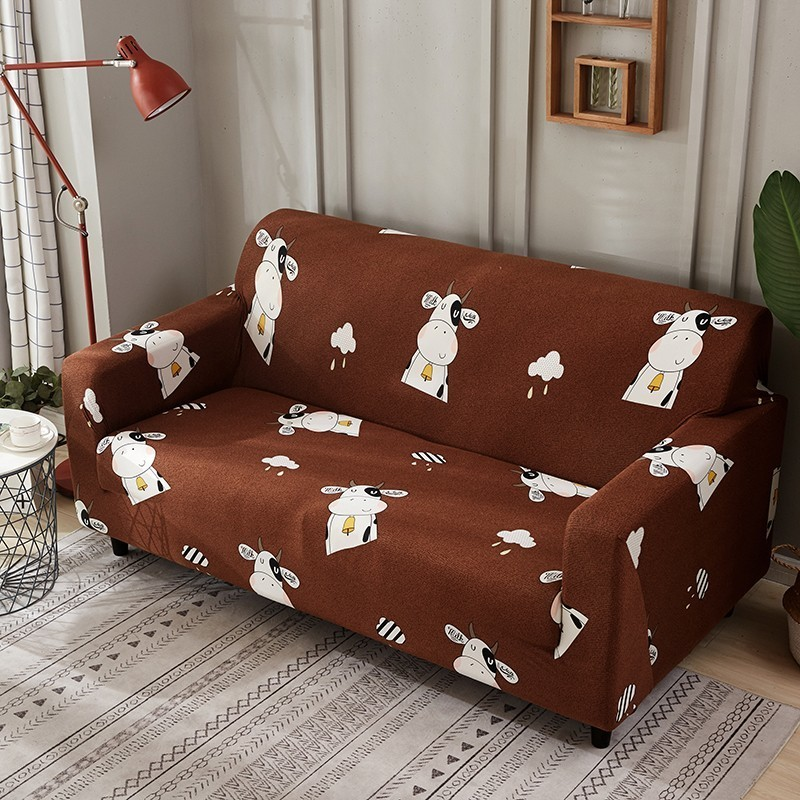 Afervor Cute Cow Print Sofa Cover Elastic Cartoon Slip Resistant Removable Wrap Slipcovers For Children 1 2 3 4 Seater 1pc