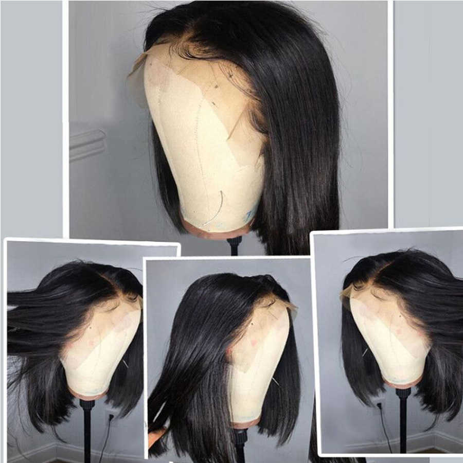 150% плотность короткий парик-Боб прямые волосы на кружеве человеческие парики для черных женщин драгоценный камень бразильские Remy человеческие волосы боб Кружева передние парики