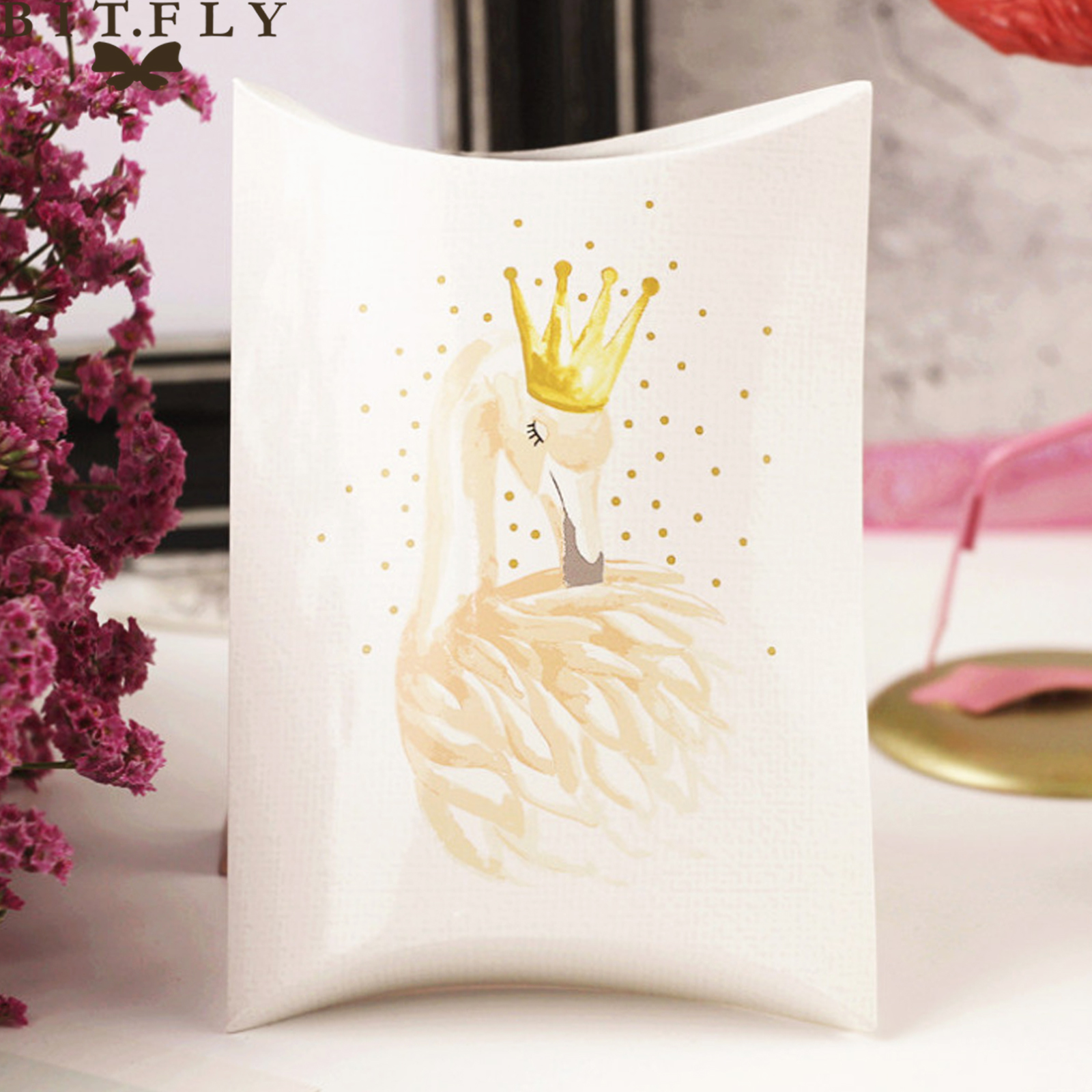 BIT.FLY 10pcs/lot Cute  Swan Paper Candy Box Girls Favor Lovely Balloon Pattern Gift Box Wedding Birthday Party DIY Decorations