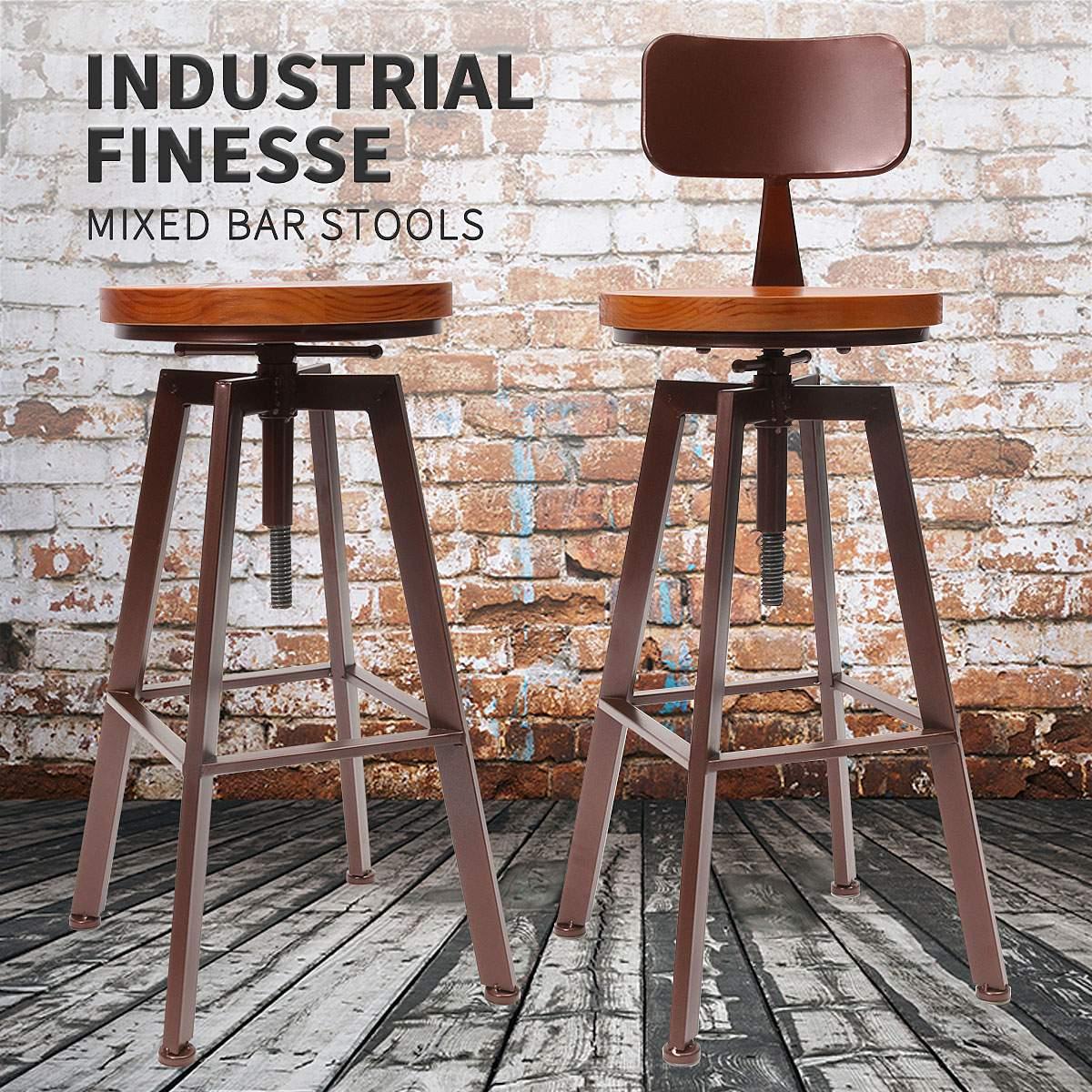 Moderne Tabouret de Bar Chaise Industrielle Pivotant Cuisine Salle À Manger Chaise Table de La Maison Décor Bois Top Métal Avec Dossier Bar Tabourets