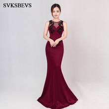 SVKSBEVS Elegant Sequined Appliques O Neck Bodycon Long Dresses Party Mermaid Tank Illusion Backless Maxi Dress