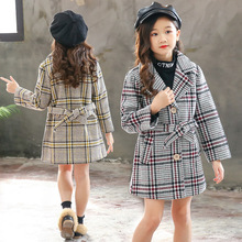 Girls coat autumn and winter 2019 new childrens clothing long-sleeved plaid long woolen