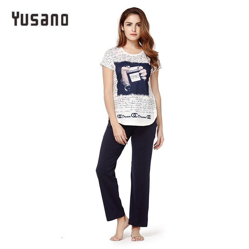Yusano Women Pajama Sets Cotton Sleepwear Short Sleeve O-Neck Nightwear Sleep Set Letter Print Casual Home Clothes Pyjama Female