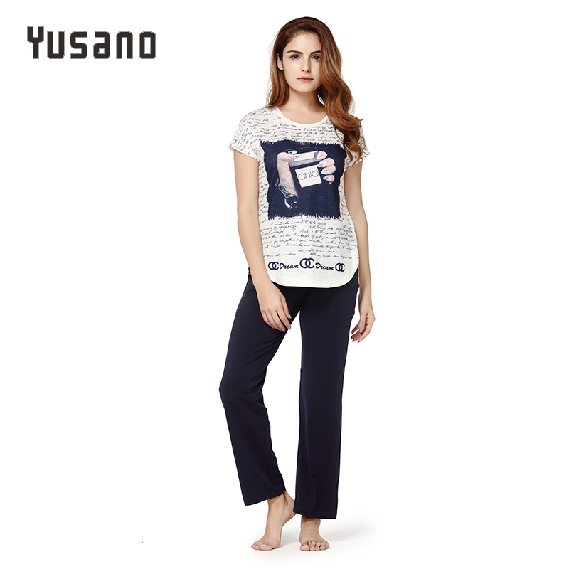 Yusano Women   Pajama     Sets   Cotton Sleepwear Short Sleeve O-Neck Nightwear Sleep   Set   Letter Print Casual Home Clothes Pyjama Female