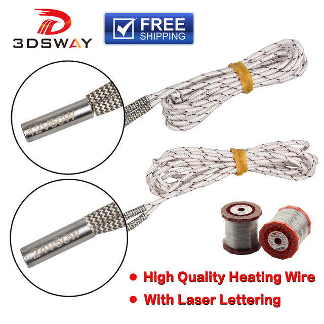 3DSWAY 3D Printer Parts 1M/2M Heater 12V 24V 50W Heating Tube 6*20mm for High Temperature Filament Hotend Kit Heating Pipe