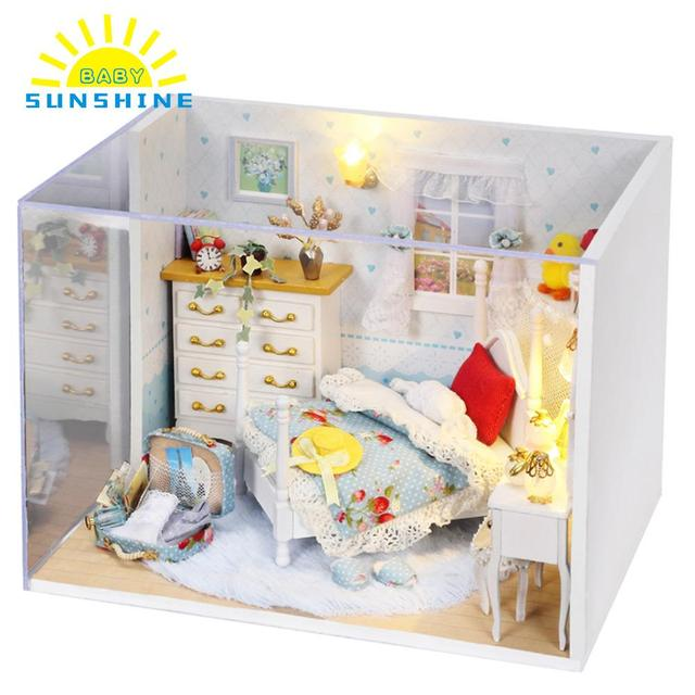 Doll House Dream House DIY Miniature House Building Kit with Dressing table Wooden Furniture Toys for Child Girl Boy Light blue