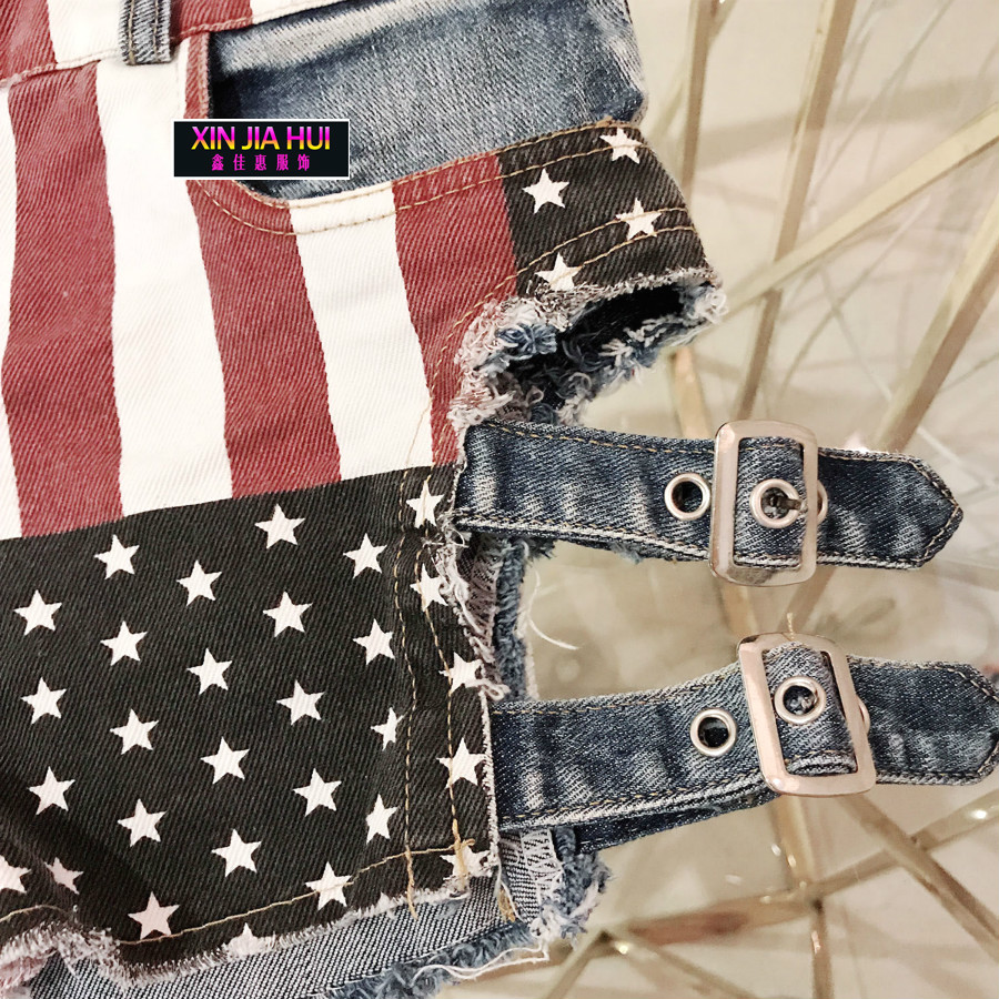 New Pattern National Cowboy Nightclub Suit-dress Exposed Holes Ballroom Sexy Shorts Pole Dance Costume American Flag Befree