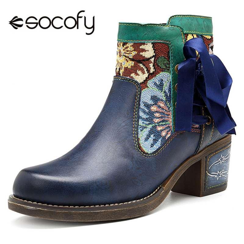 Socofy Western Cowgirl botas Mujer Zapatos Retro cuero genuino tobillo botas para mujeres Bowknot cremallera grueso bloque tacones botines-in Botas hasta el tobillo from zapatos    1