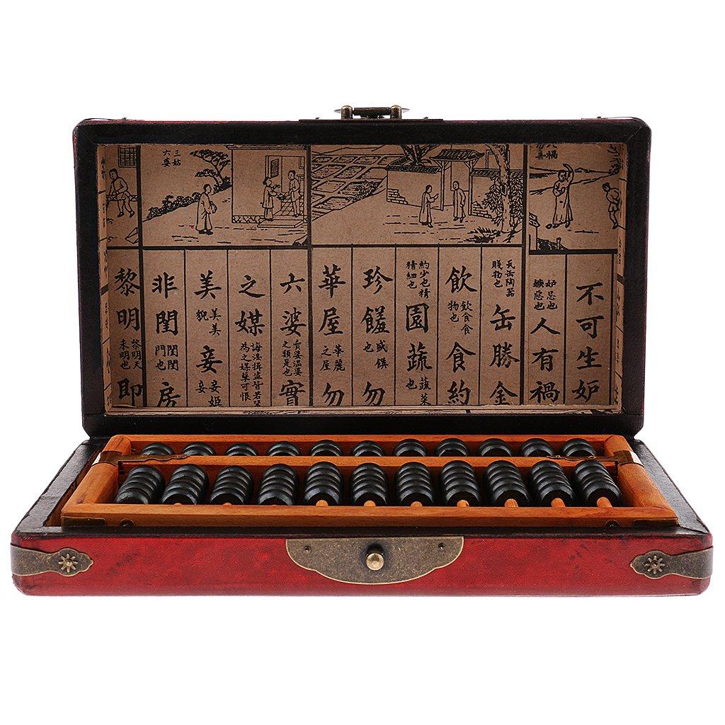 Vintage chinois en bois 11 rangées Abacus calculatrice avec boîte arithmétique outil de calcul jouets éducatifs cadeau pour enfants adulte
