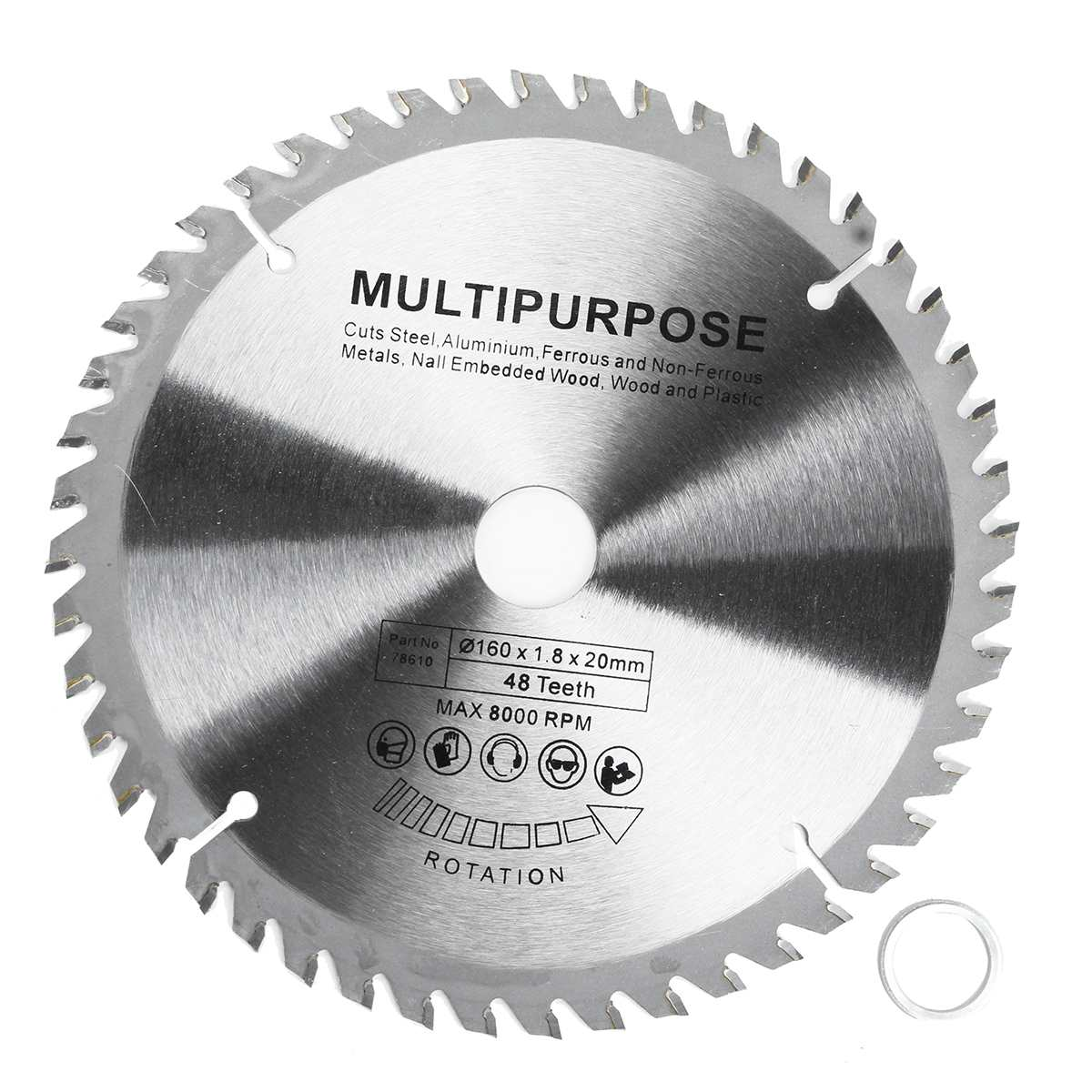 48 Teeth 8000RPM Steel Wood Plunge Saw Blade 160mm X 20mm X 1.8mm Multi-function Blade