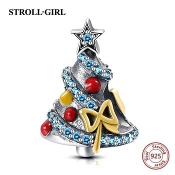 925 Sterling Silver bella albero di natale di fascini Misura branelli originale Pandora braccialetto di modo diy Monili Che Fanno per il regalo Delle Donne