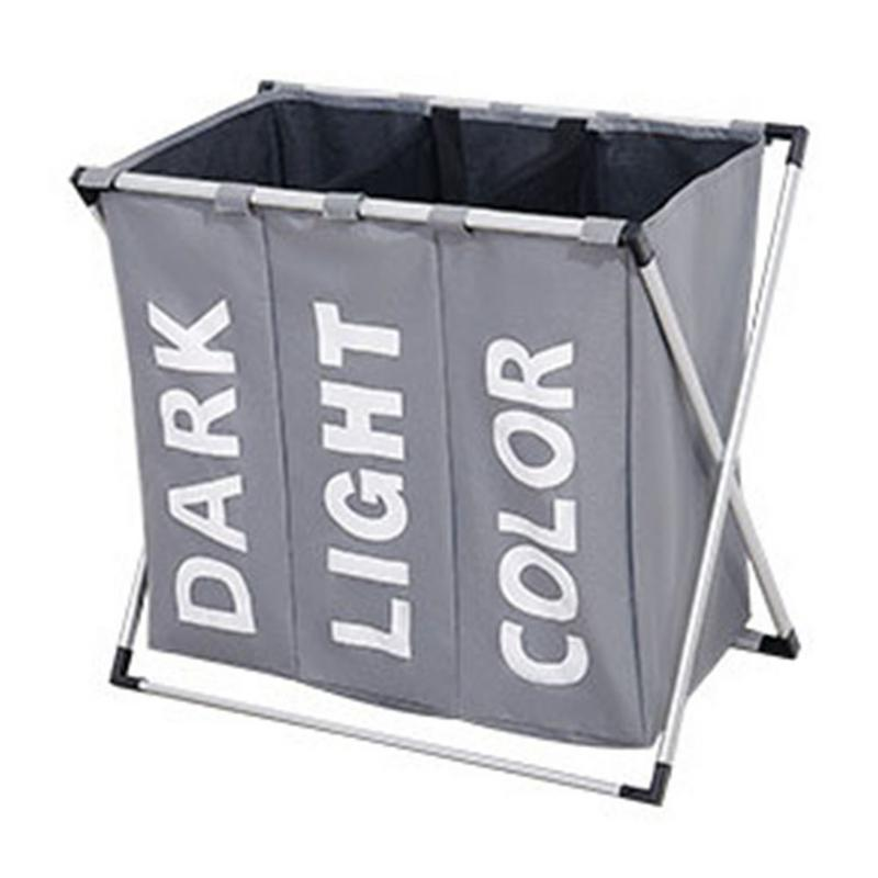 Collapsible Dirty clothes laundry basket Three grid bathroom laundry hamper Organizer home office metal storage basket