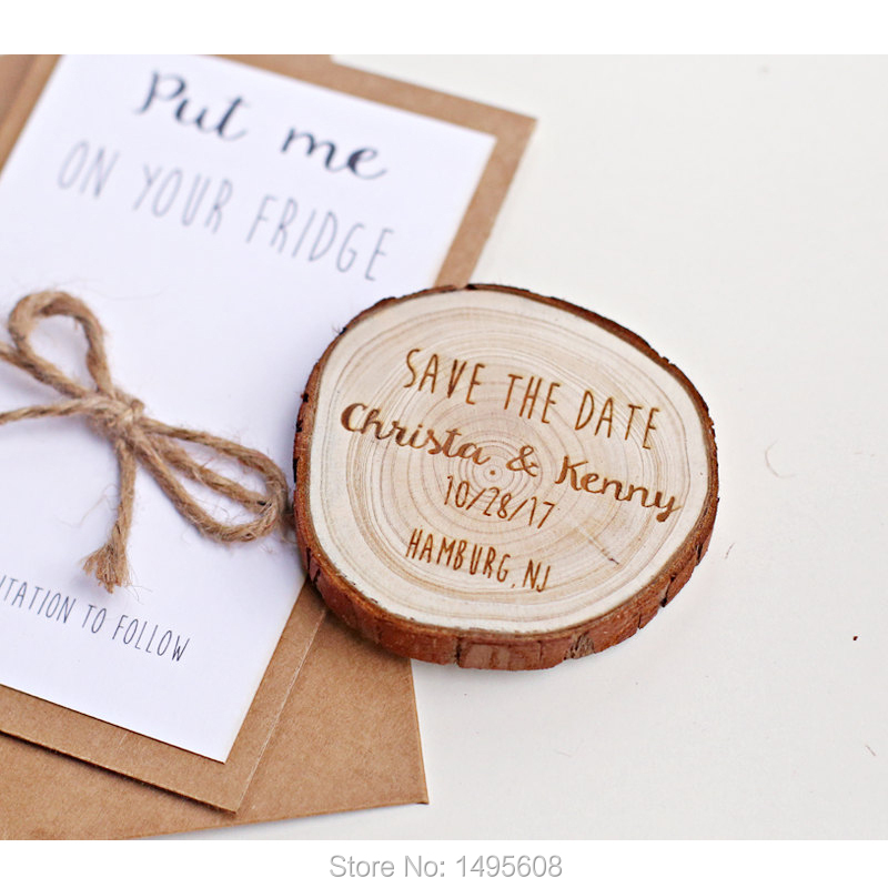 Personalized Save The Date Magnets, Custom Save The Date Magnets For Guests, Rustic Wood Slice Magnet,wedding Invitations