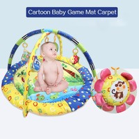 Cartoon Soft Baby Game Play Mat Kids Infant Rug Floor Pad With Hanging Educational Toy Toddler Bed Gym Blanket Crawling Toy