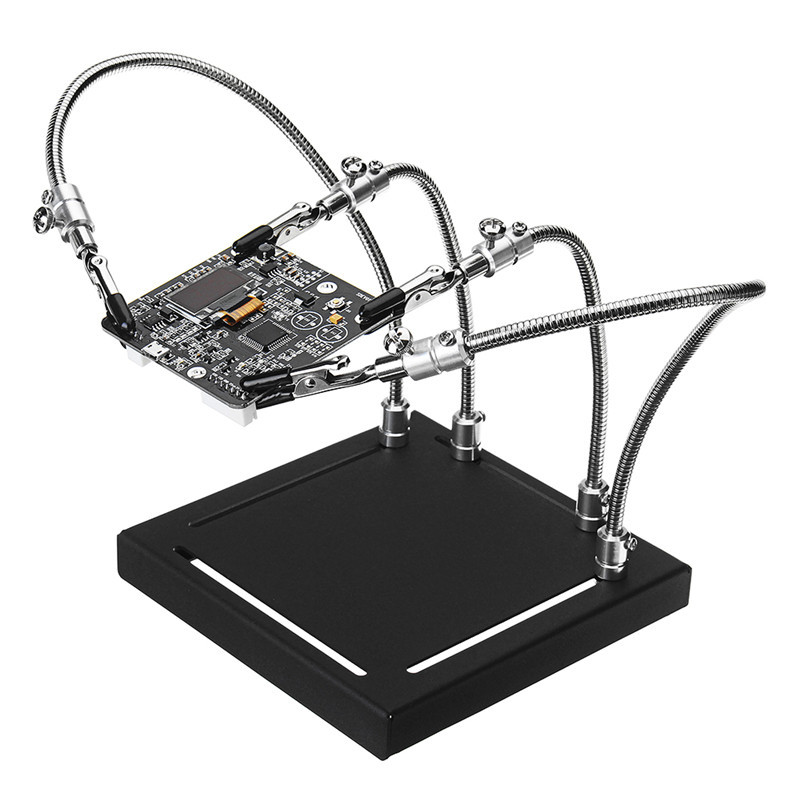 YP-001 Metal Base Universal 4 Flexible Arms Soldering Station PCB Fixture Helping Hands Four Hand Upgraded Version