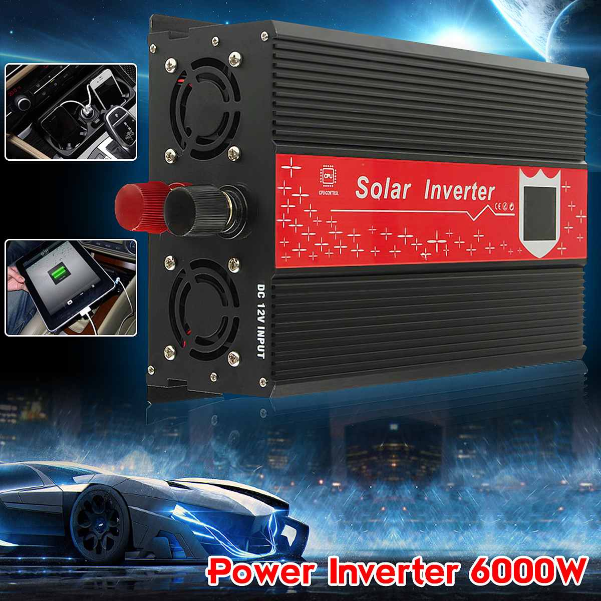 3000W Peak 6000W Solar Power Inverter DC 12V To AC 240V Sine Wave Car Home Inverter Voltage Transformer Convertor