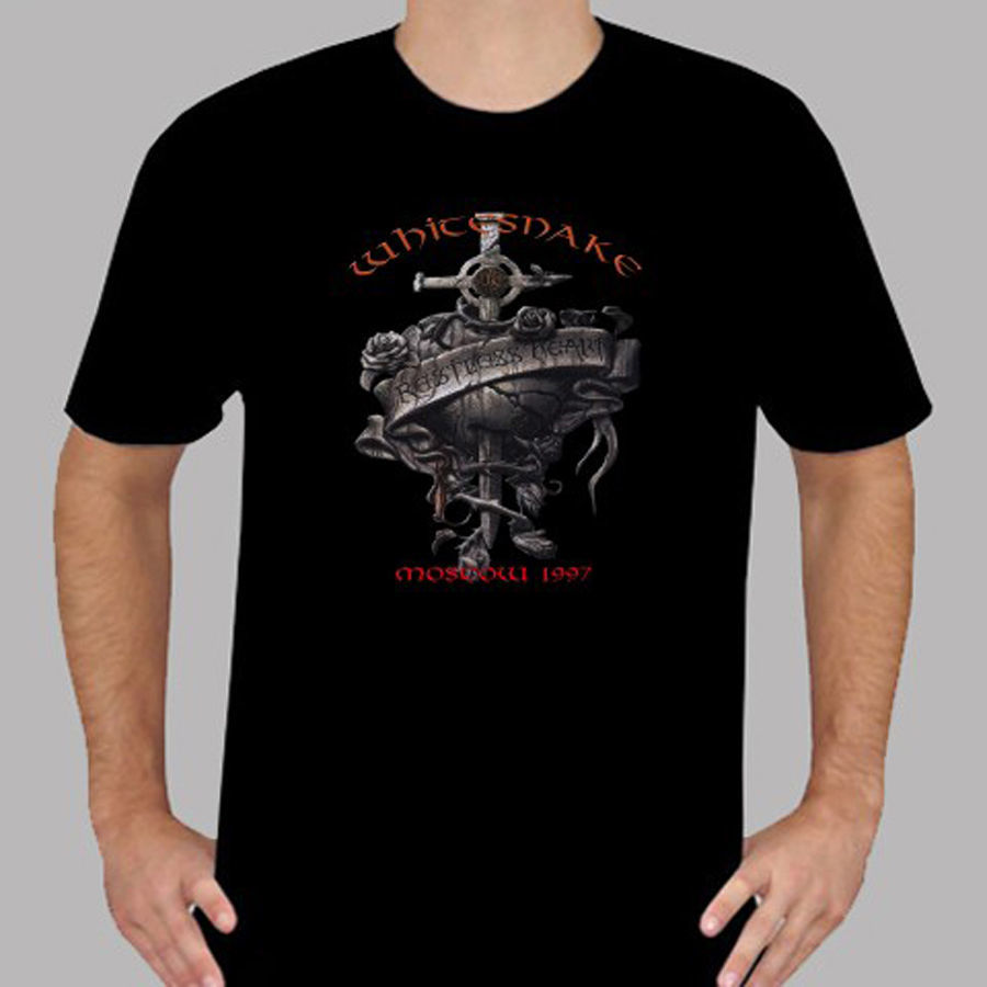 Newest 2018 New WHITESNAKE Restless Heart Rock Band Legend Men 39 s Black T Shirt Size S to 3XLHot Sale Casual Clothing in T Shirts from Men 39 s Clothing