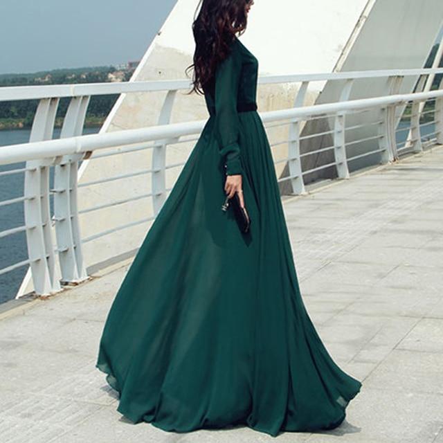 672bf7bf302bd9 Women Long Sleeve Maxi Dress Autumn New Fashion Collar Buttons Long Dresses  Female Elegant Tunic Party