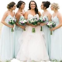 Simple Elegant Mint Green Bridesmaid Dresses 2019 A line Chiffon Cheap Dress For Bridesmaid