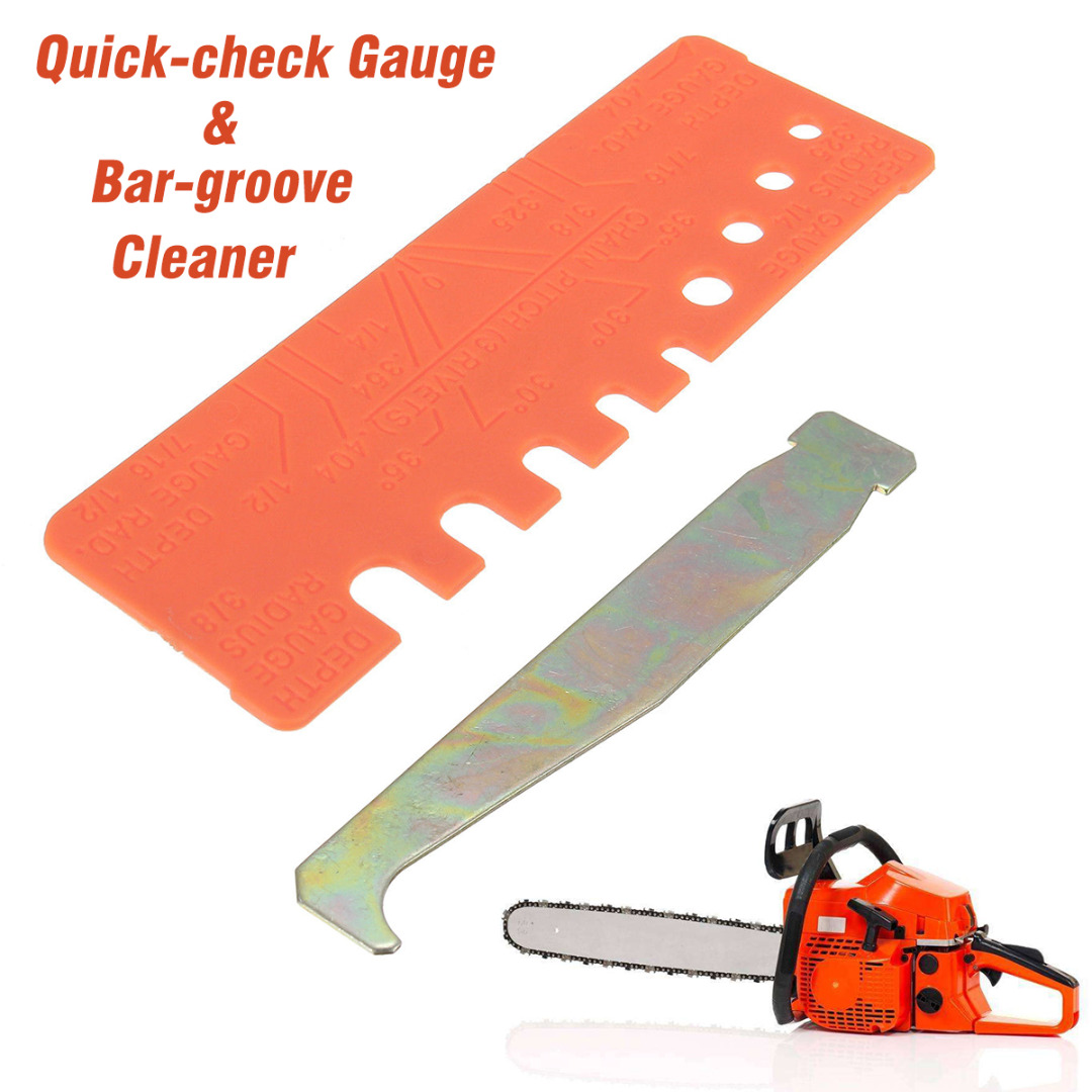 New 2Pcs/Set General Chainsaw Chain Tool Bar Groove Cleaner & Quick-check Gauge