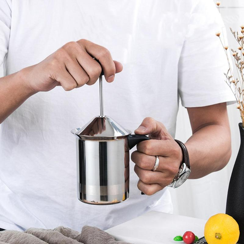 400/600/800ML Stainless Steel Milk Frother Double Mesh Milk Creamer Milk Foam for Coffee Milk Maker Kitchen Tool400/600/800ML Stainless Steel Milk Frother Double Mesh Milk Creamer Milk Foam for Coffee Milk Maker Kitchen Tool