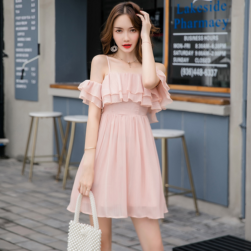 aesthetic korean dress brand solid spring chic autumn knee clothing pink dresses above line