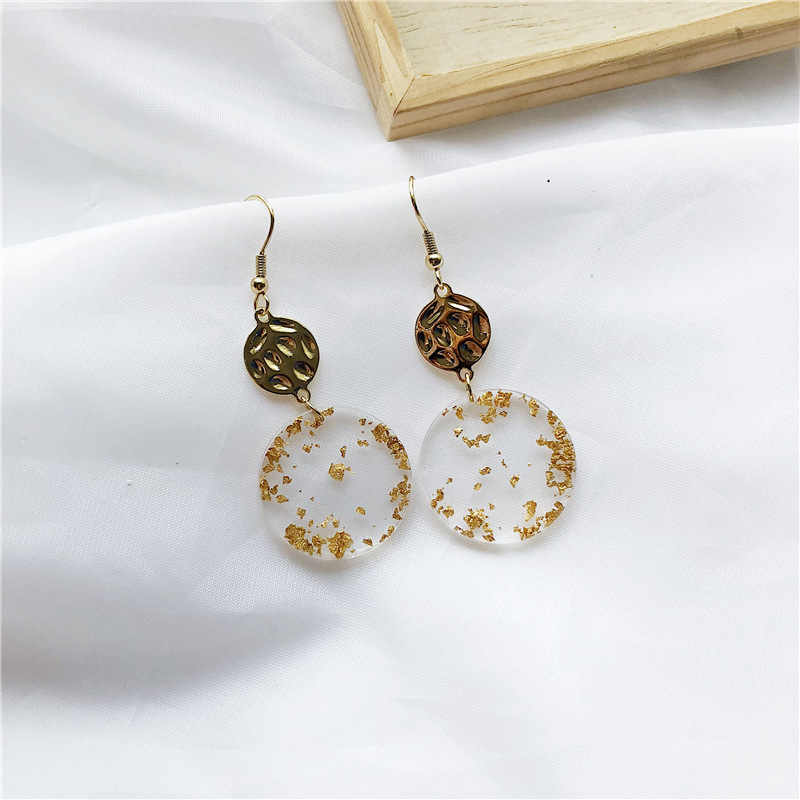 2019 new design brand earrings transparent round simple earrings for women.