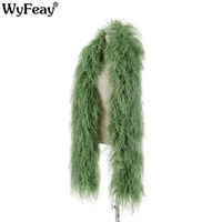 High Quality 10ply Encrypted Olive Green Ostrich Feather Shawl Ostrich Feather Boa for Crafts Wedding Dancer Decoration Plumes