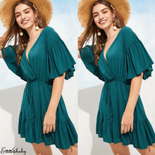 Hirigin Brand Vestidos Elegant Newest Sexy Dress Women 2019 Summer Green V-neck Frill Mini Beach Skater Sundress