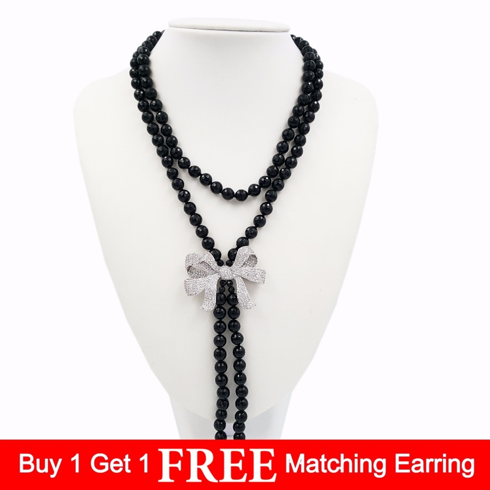 LiiJi Unique Natural Stone Black Onyx Faceted Beads&Cubic Zirconia Bowknot Pendant&Baroque Pearl Tassels Necklace 35''/90cm barbara lynn barbara lynn you ll loose a good thing