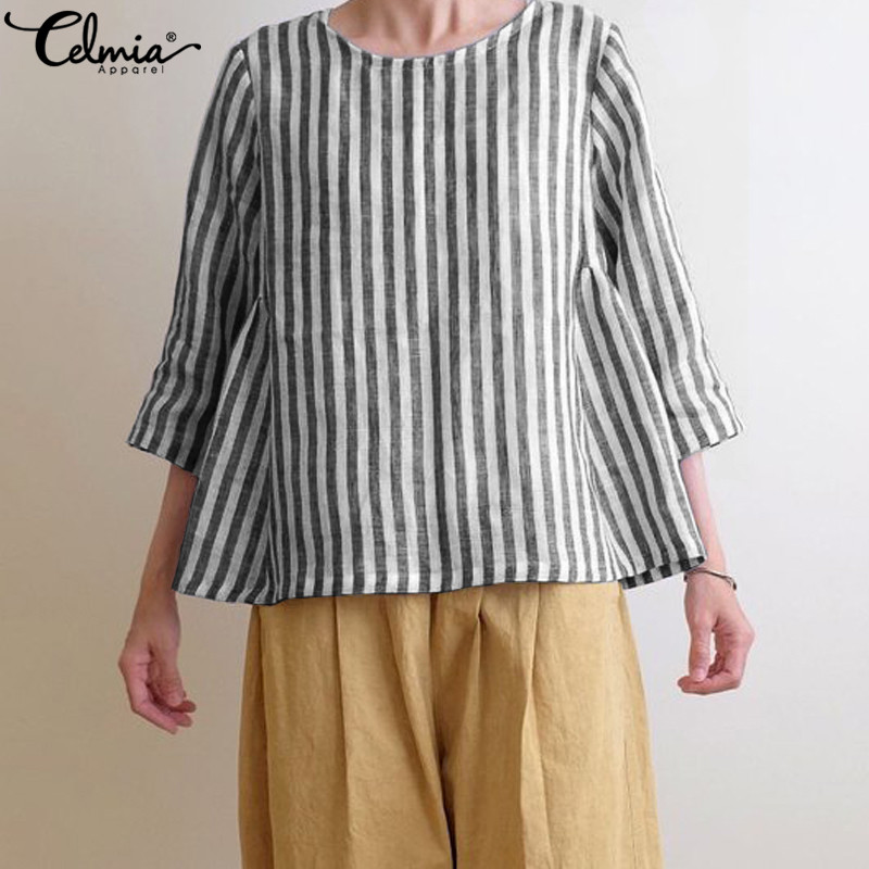 Celmia Women Vintage Striped Blouses Plus Size Tunic Tops 2019 Summer 3/4 Sleeve Loose Casual Cotton Shirts Female Blusas Mujer
