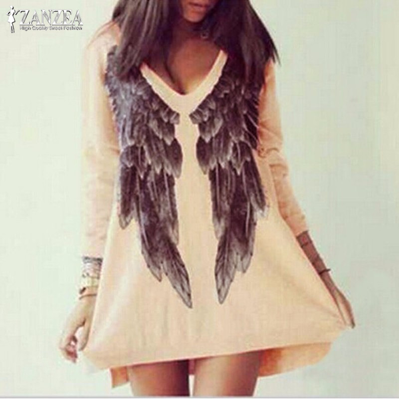 Double V Neck Hoodies Dress 2019 ZANEZA Women Robe Femme Angel Wings Print Mini Dress Female Casual Pullover Sweatshirt Vestidos