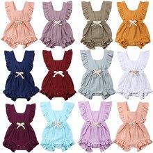 Летний однотонный комбинезон с оборками для новорожденных девочек от 0 до 24 месяцев, комбинезон, комбинезон, одежда для малышей