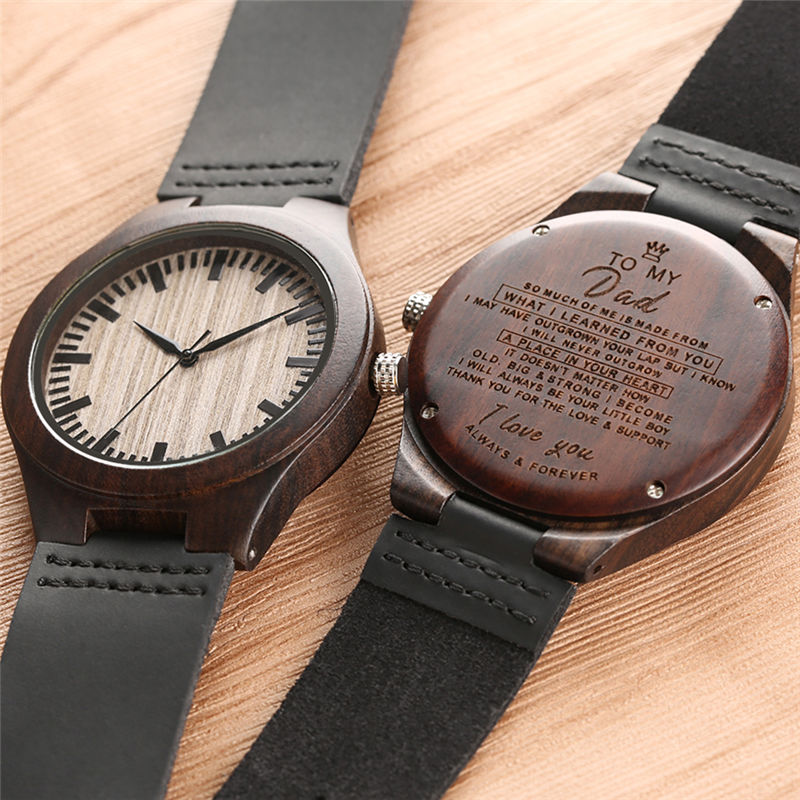 Natural Wood Watches Quartz Analog Leather Band Carving Letters Lovers Watch Valentine's Day Gift Montre Connectee Reloj Unisex