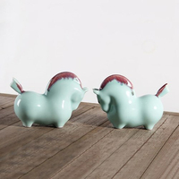 Ceramic Cute Horse Statue Good Luck Horse Tabletop Display Home Decoration Accessory Office Little Display