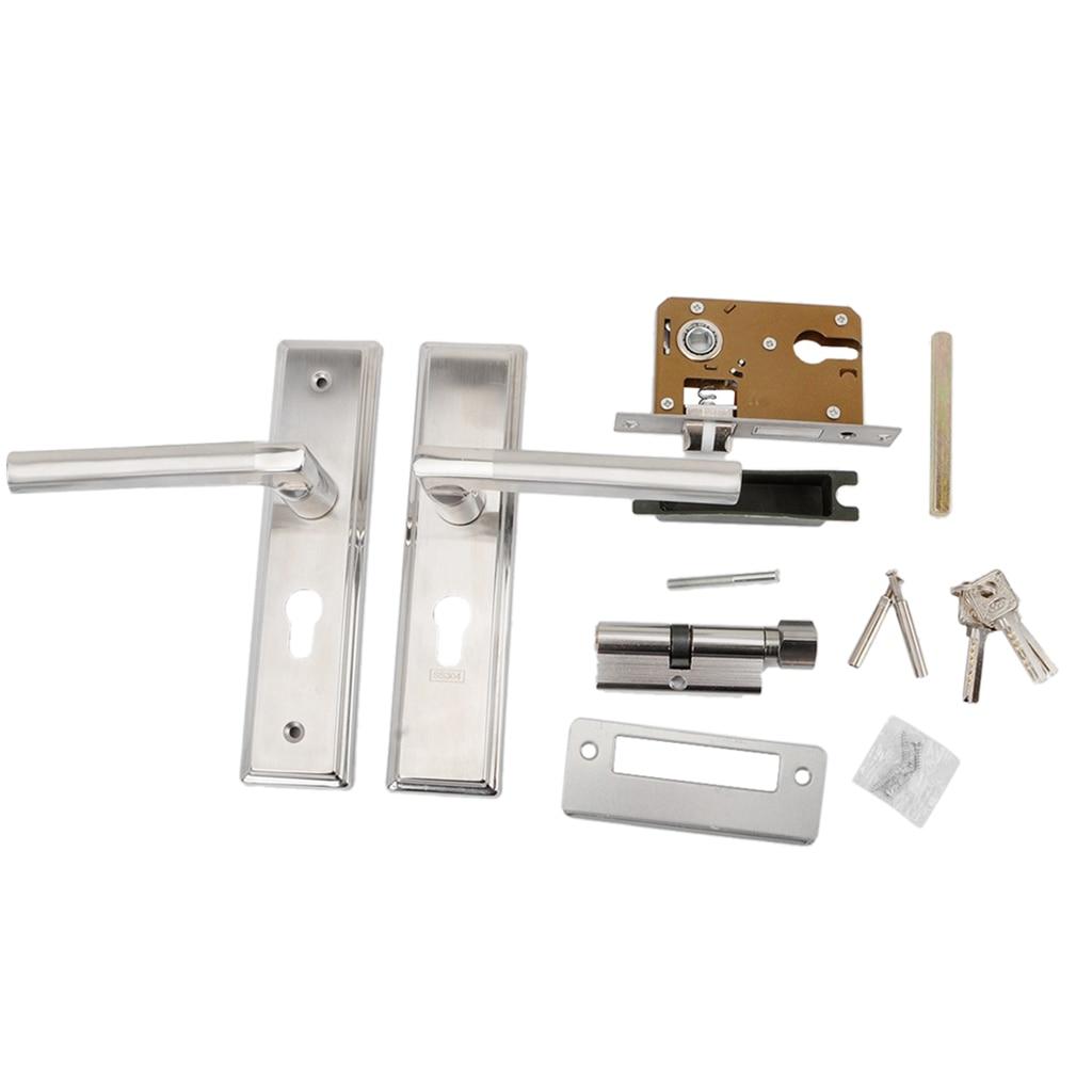 Cylinder Front Back Lever Latch Home Security with Keys Durable Door Handle Lock Lock Door Handle 1Pair