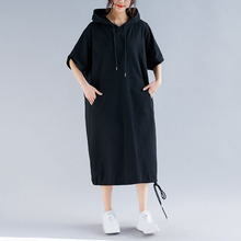 Summer Women Big Size Dress Pockets Loose Lady Hooded Sweatshirt Female Casual Solid Midi