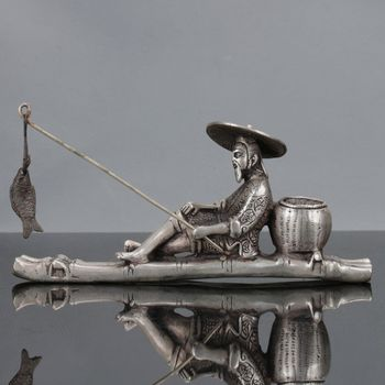 cHinese Tibet Silver Hand Carved Fisherman & His Bamboo Raft Statue