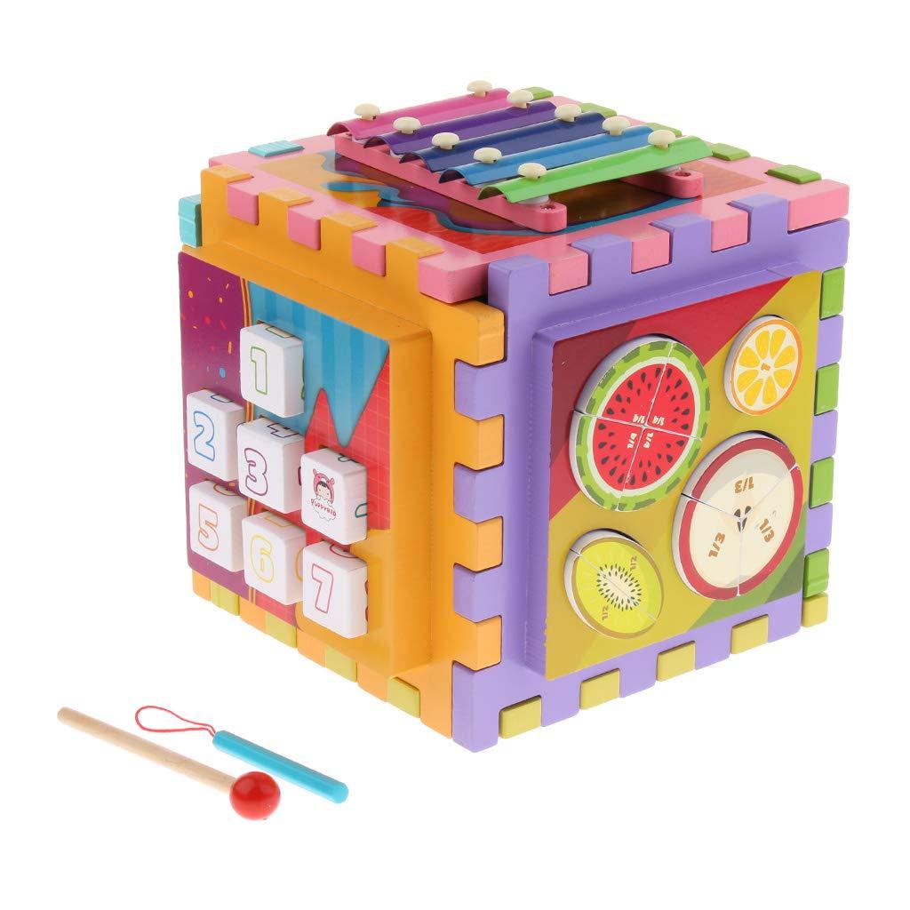 6 en 1 Cube en bois labyrinthe engrenages Tangram Puzzle Xylophone mathématique Musical déconcentration jouets d'apprentissage pour les enfants - 4