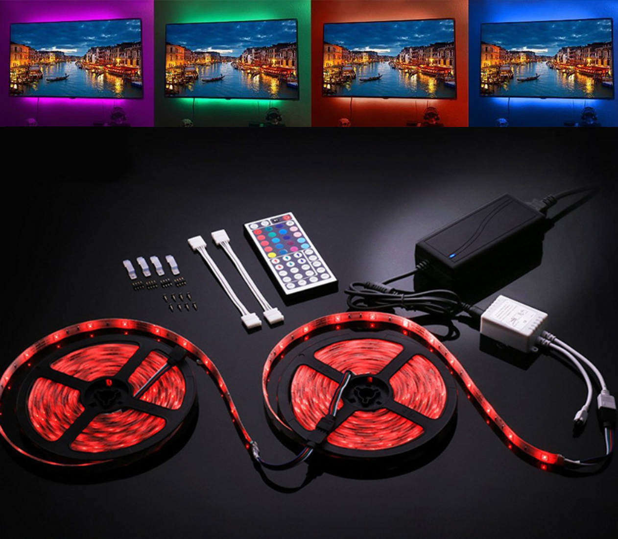 UK/EU Plug SMD 5050 RGB LED bande étanche 10 M 300 LED DC 12 V lumière LED bandes flexibles néon bande Monochrome