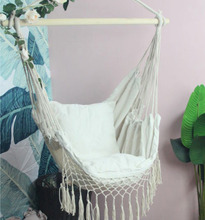 Nordic Style Tassels Hanging Hommock Lounge Rocking Chair with Cushions Indoor Patio Swing Seat Garden Furniture HW05